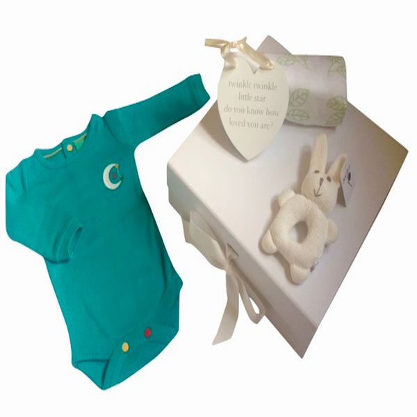 unisex baby gift box with pointelle long sleeve bodysuit Moon and Stars details and knitted organic bunny with organic bamboo and organic cotton swaddle.