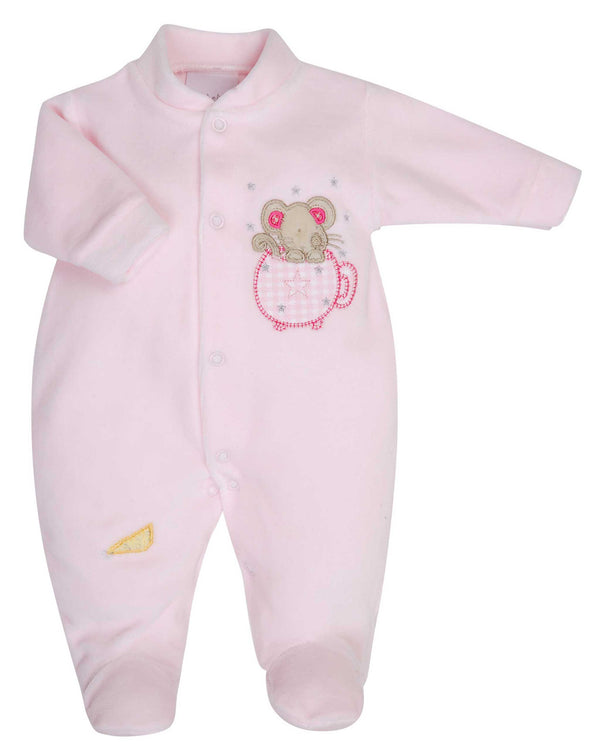 Mouse in a Teacup Pink Velour Sleepsuit - Premature Baby Girl