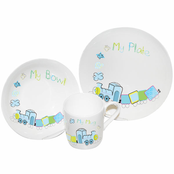 train breakfast set, baby weaning set, children's plate set, baby dinner set gifts, patchwork train