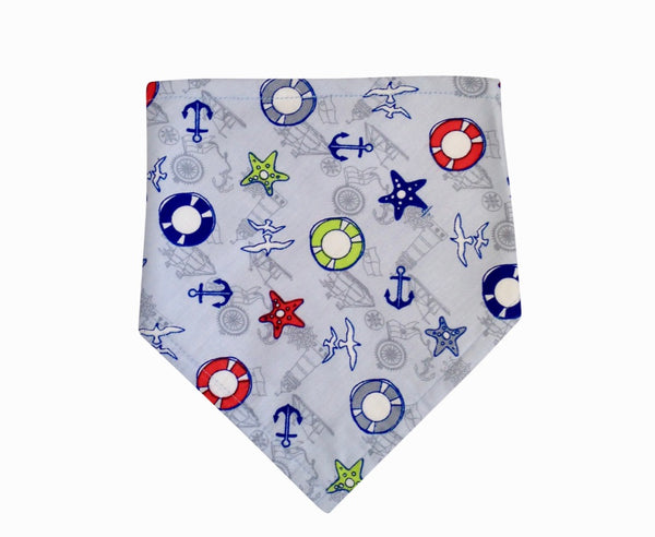Nautical Pattern Bandana Bib  - Velcro Fastening, Dribble Bib