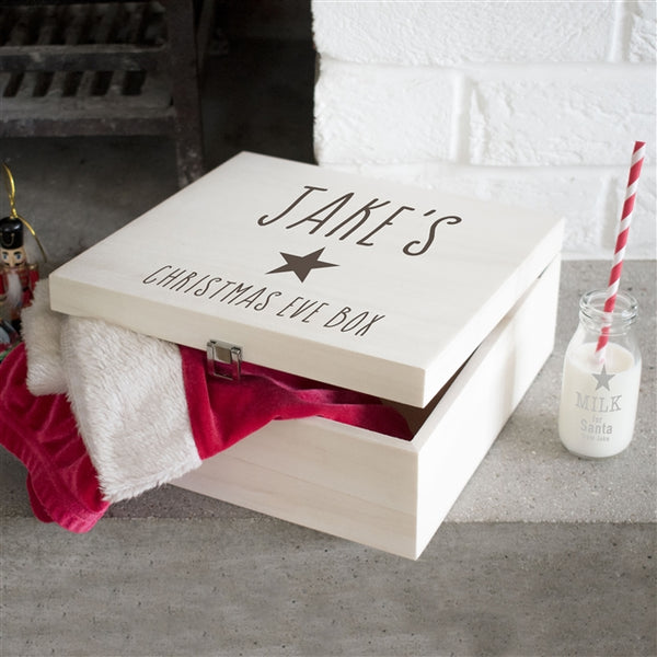 personalised Christmas Eve box, engraved with star