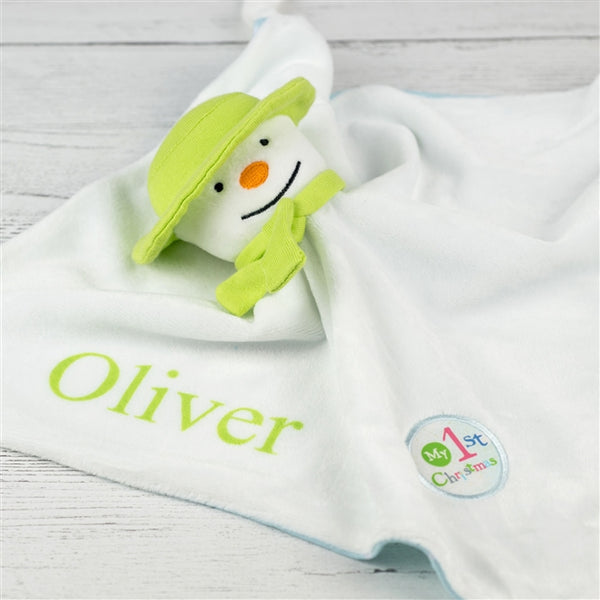 The Snowman comforter, personalised baby comforter, baby's 1st Christmas, Christmas comforter