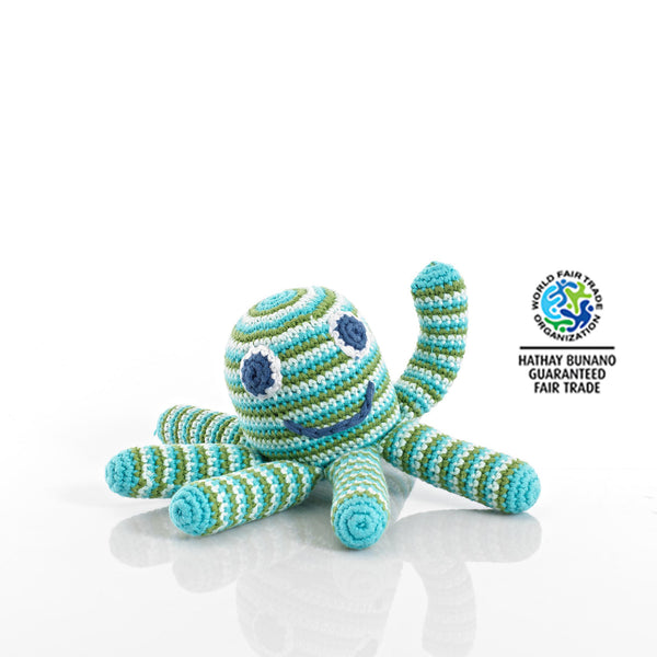 Crochet octopus toy rattle green blue striped suitable from birth