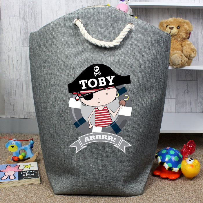 storage bag, pirate storage bag, rope carry handle storage bag, grey storage bag, pirate theme
