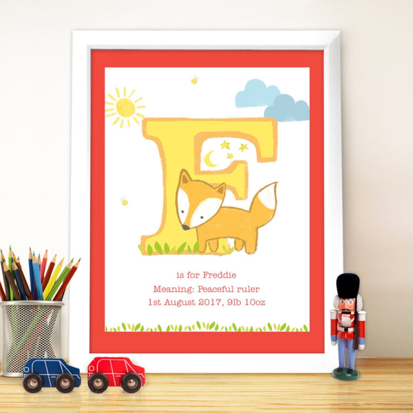 personalised white frame, personalised animal initial poster, nursery room poster
