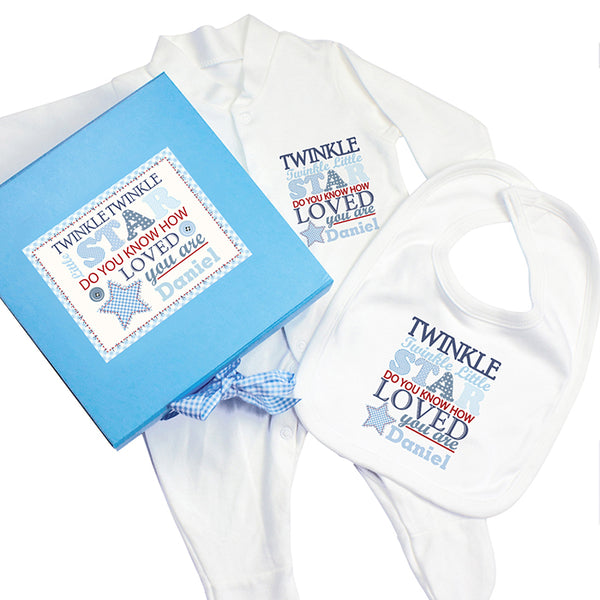 personalised baby boy gift box, personalised dribble bib, personalised baby bibs, personalised baby grow, baby gift set, personalised baby gift