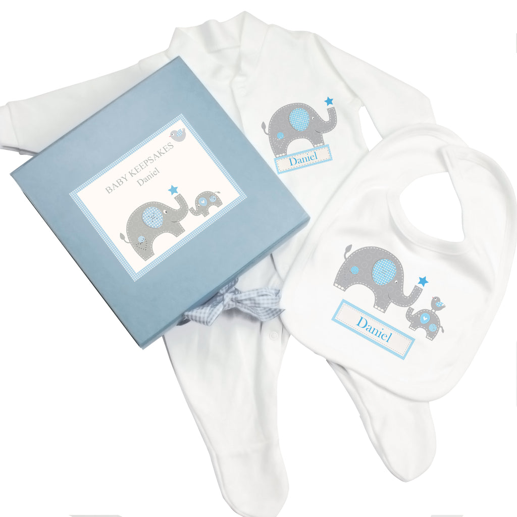 personalised baby elephant gift box