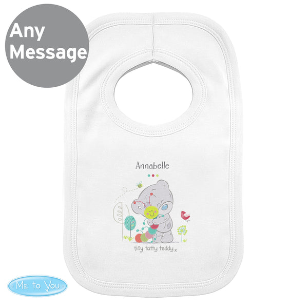 personalised baby bib on white background, tiny tatty teddy dribble bib