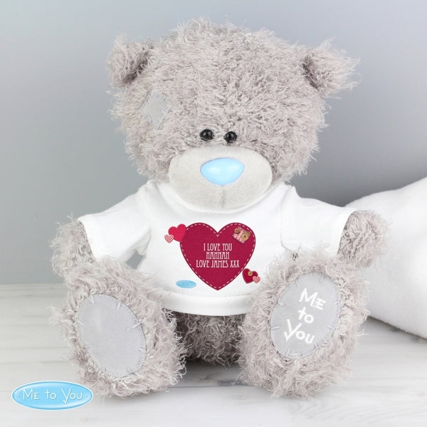 me to you teddy bear, personalised teddy bear with heart shape t-shirt, Valentine's Day teddy bear