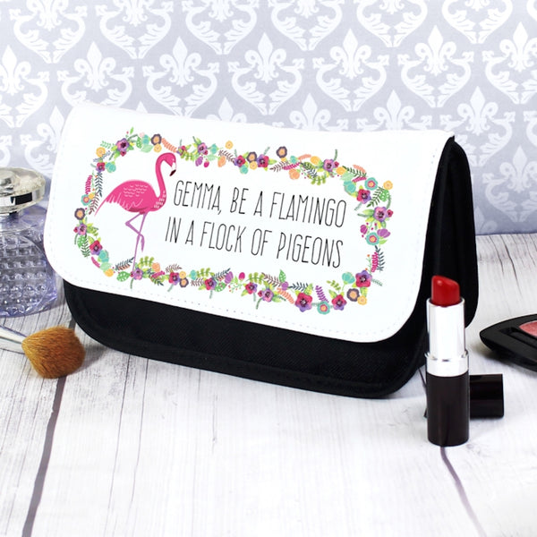 flamingo makeup bag, personalised makeup bag, custom makeup bag