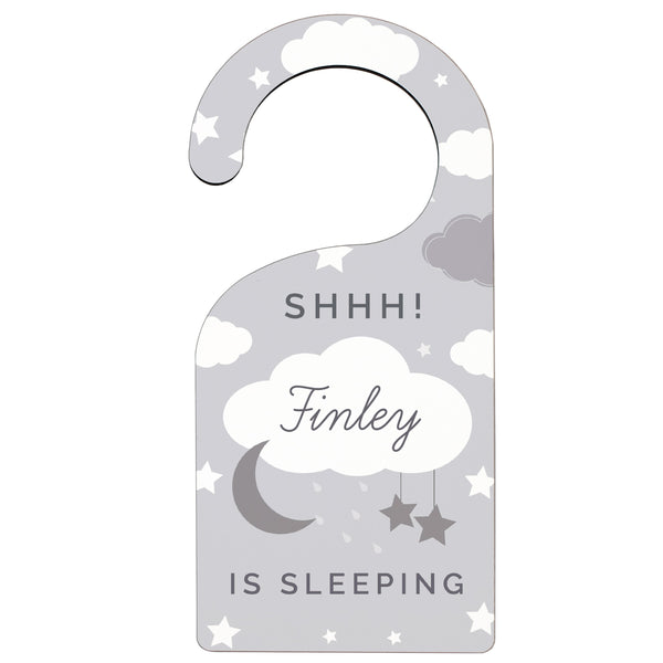 personalised door hanger on white background