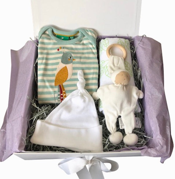 Striped sleep suit, unisex baby gift box, organic cotton, knotted hat, bamboo organic cotton swaddle