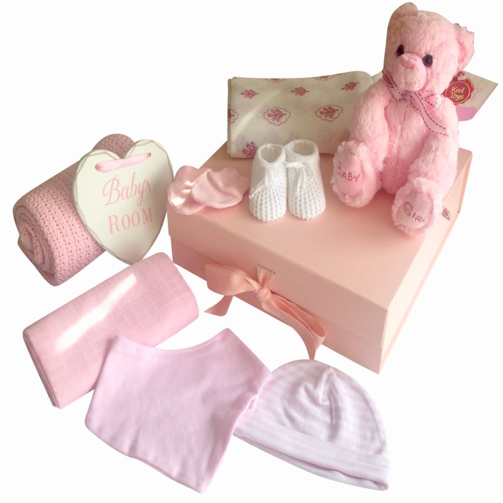 Baby girl keepsake box, gift box, baby's room plaque, puffball bear rattle, pink floral swaddle, cellular blanket, pink scratch mittens, striped pink hat