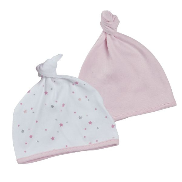 Knotted Baby Hat 2 pack | Pink Star Pattern
