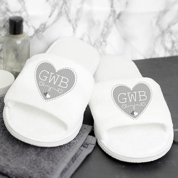 Plush velour slippers, grey heart, personalised with initials