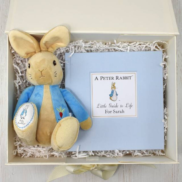 personalised Peter Rabbit book, Peter Rabbit plush toy, gift box set