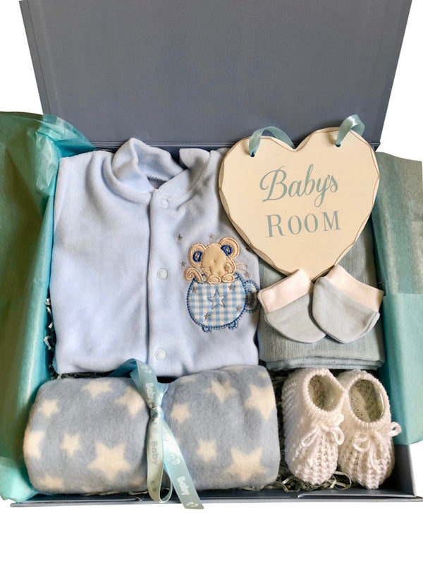 premature baby boy gift box, mouse in a teacup, tiny baby boy clothes, polar fleece blanket