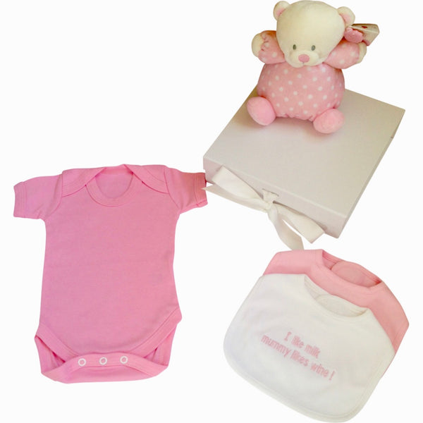 Puffball baby bear baby girl gift box with slogan bibs, baby girl gift set, baby gift bundle