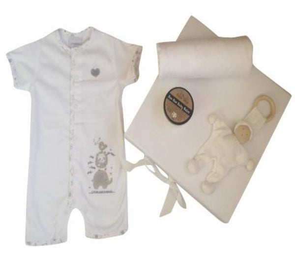 Pure white romper, unisex baby gift box, teething toy, baby comfort blanket, organic cotton, swaddle wrap, baby boo boo balm