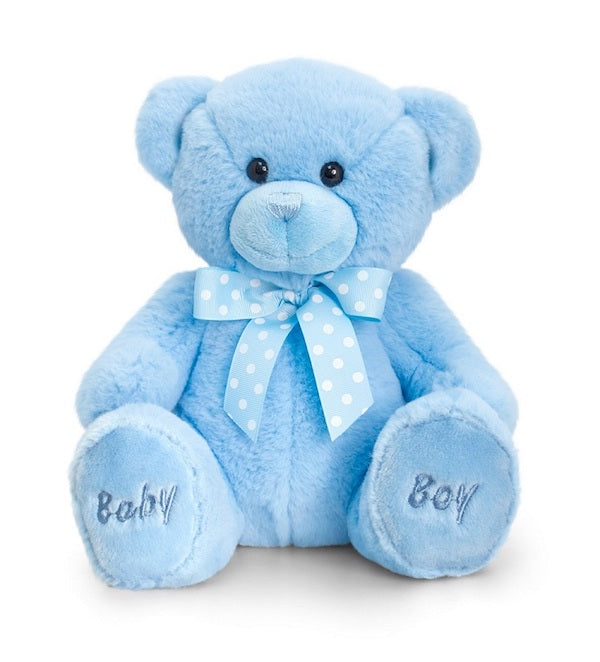 baby boy teddy bear, blue ribbon, plush teddy bear, plush baby toy