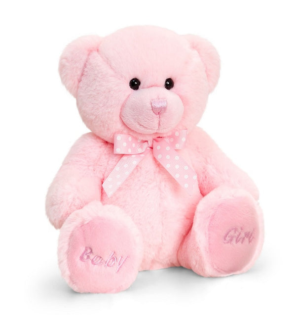 baby girl teddy bear, 17cms teddy bear, polka dot ribbon
