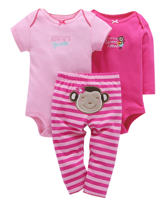 Pink Monkey character bodysuit and leggings