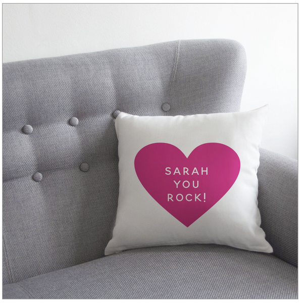 Personalised Heart Cushion | Grey, Pink, Pale Pink