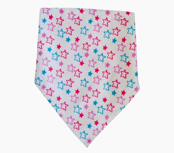 Star pattern bandana bib to prevent dribbling