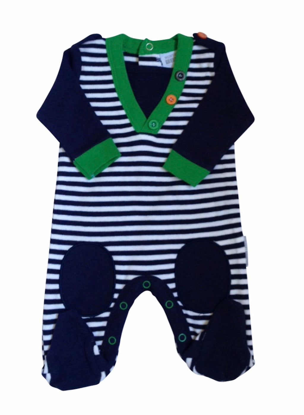 striped baby boy sleepsuit, baby sleep suit, cotton sleepsuit, knee patches, knee patch detail, striped sleepsuit, navy sleepsuit, long sleeve sleepsuit