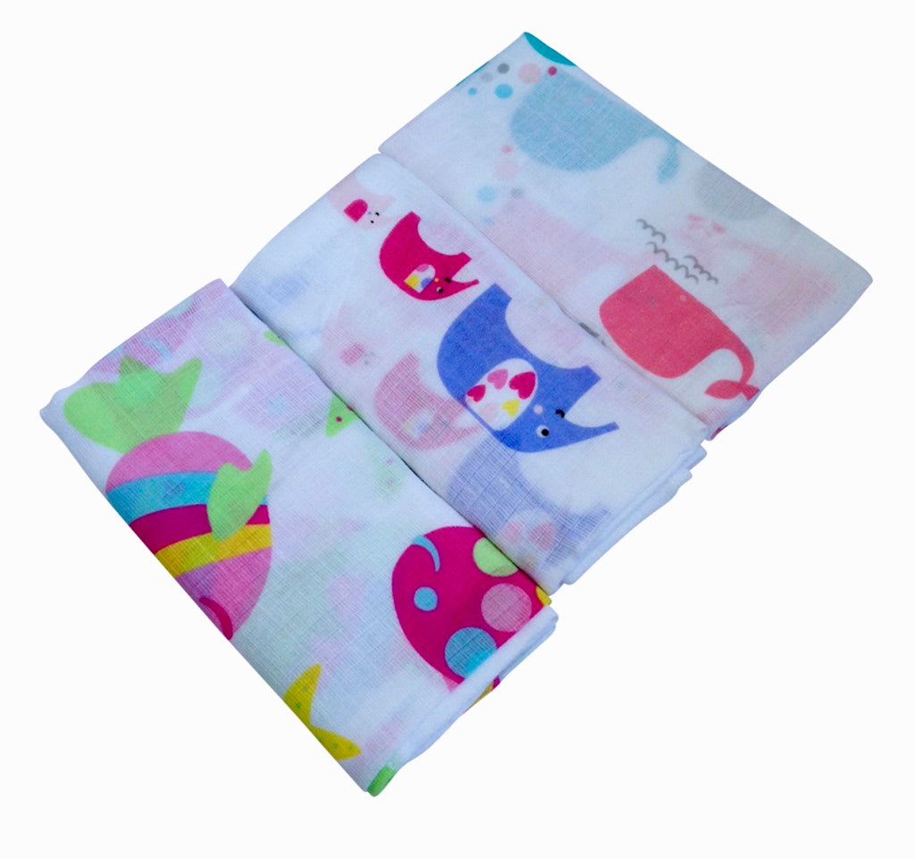 Fish and Elephants Triple Pack Muslins