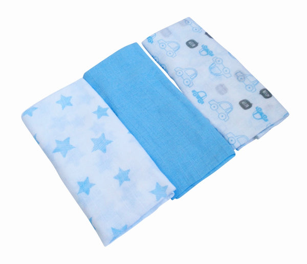 Triple pack of blue muslins with star and car print patterns