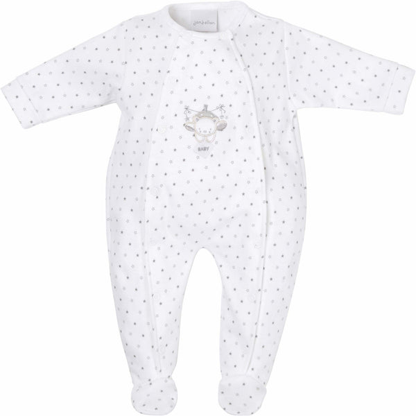 Unisex star print sleep suit with bear appliqué