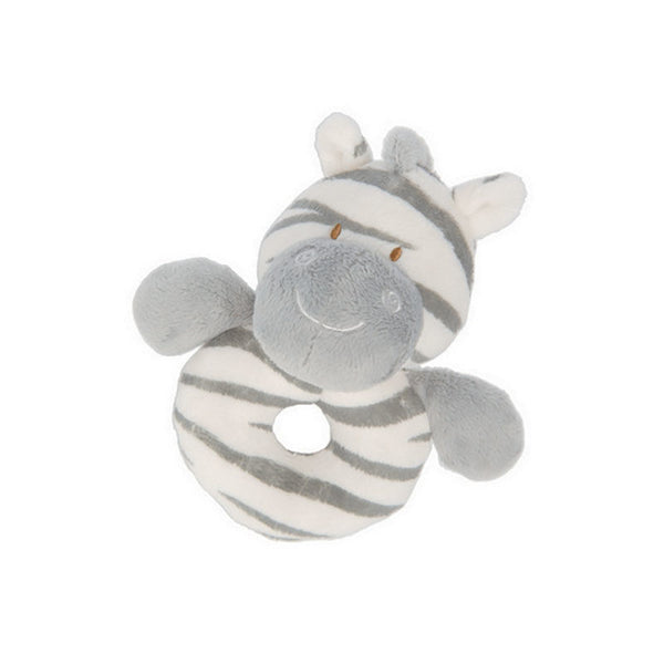 zooma zebra, ring rattle, plush rattle, newborn, hand wash, grey and white