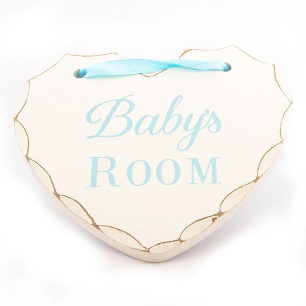 Baby's Room wooden hanging heart for nursery in blue lettering