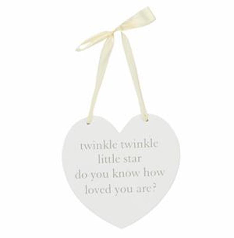 heart shaped hanging plaque with ribbon, nursery accessory, nursery decor