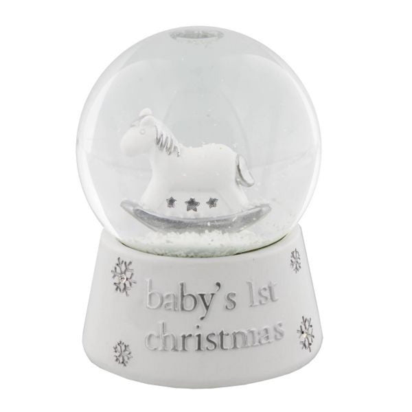Baby's 1st Christmas white resin snow globe waterfall by bambino