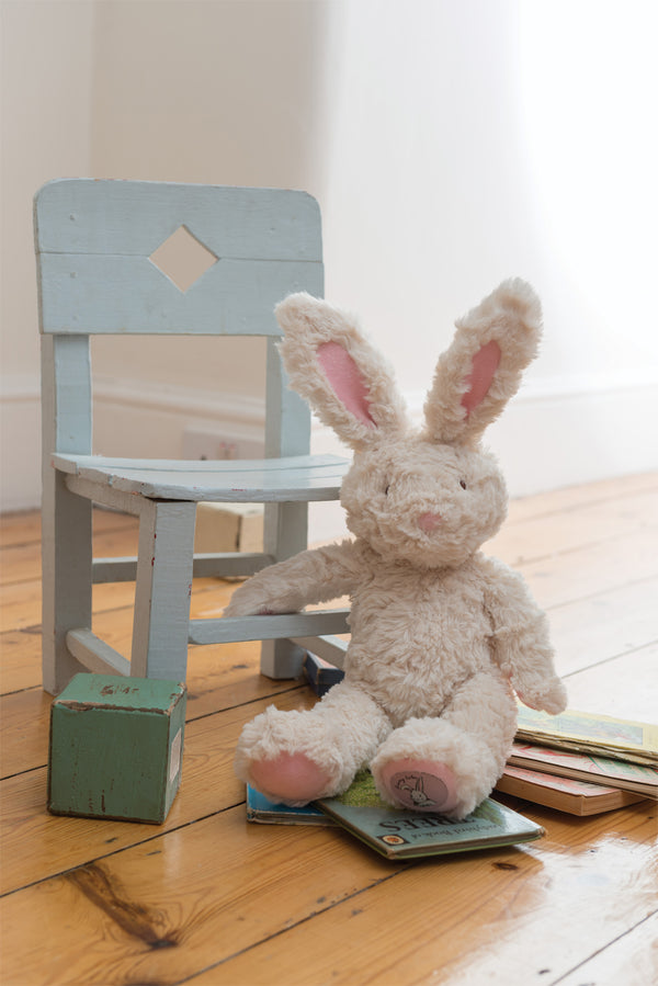 bella rabbit by ragtales, weighted rabbit toy, soft cuddly bunny toy