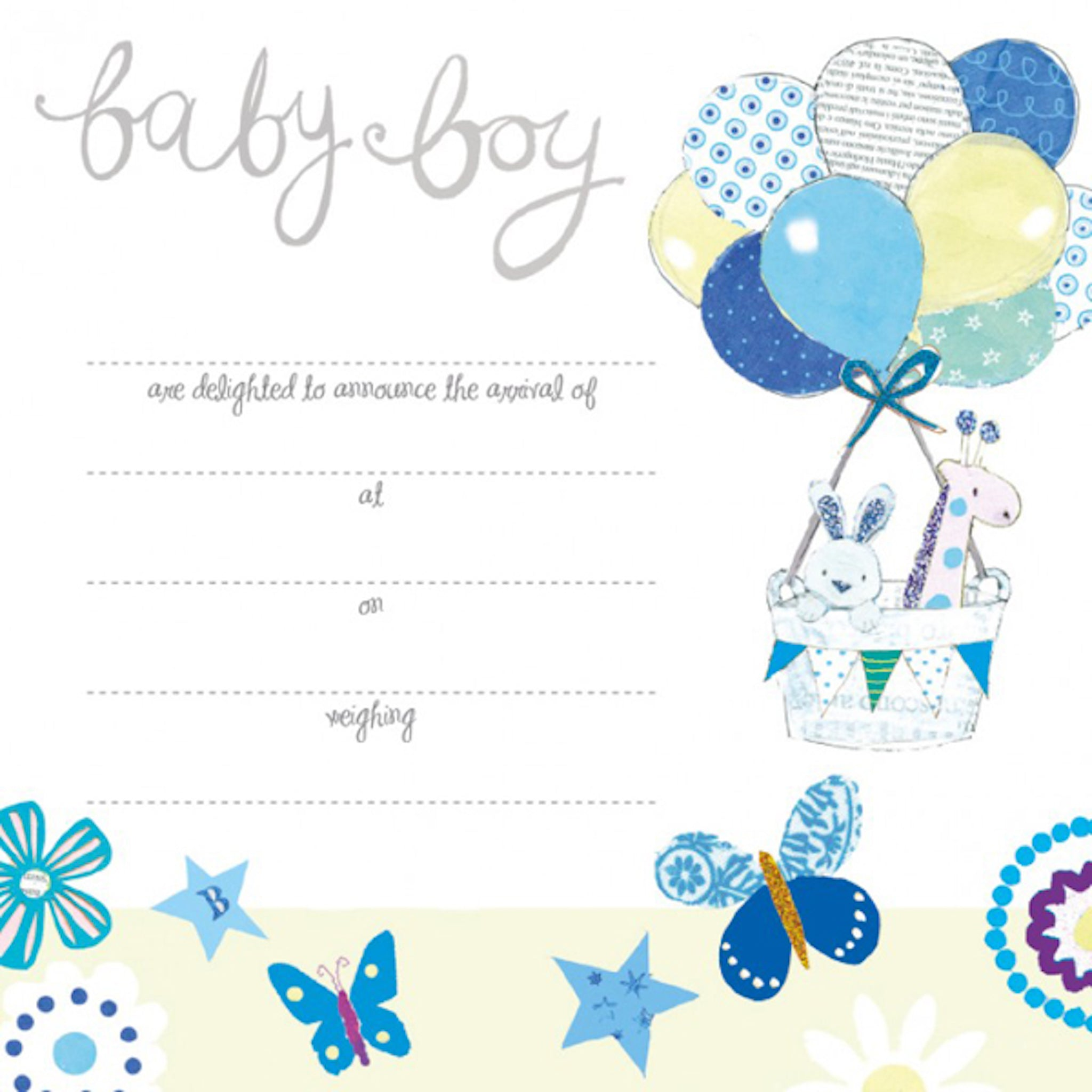 baby boy birth announcement cards set of 8 cards mini me gift