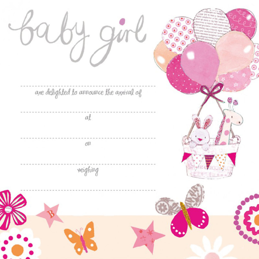 Baby girl birth announcement card, newborn announcement cards