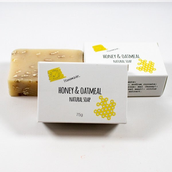 honey and oatmeal soap, natural honey soap, flaked oatmeal soap, handmade soap, natural ingredients,