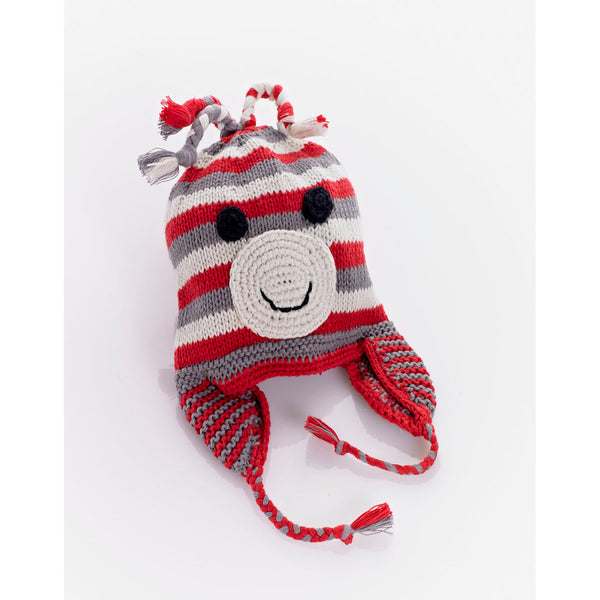 Knitted Baby Hat - Red Monkey Design
