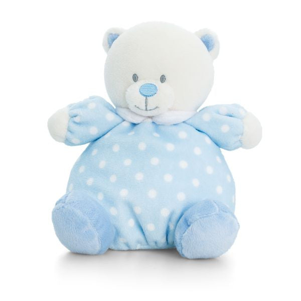 Blue Puffball bear with rattle suitable for newborns