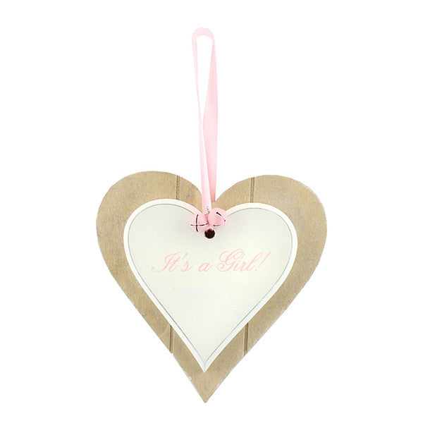 Double Heart Plaque - It's a Girl