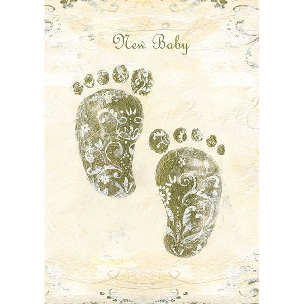 Vintage design footprints neutral new baby greeting card by Hammond & Gower