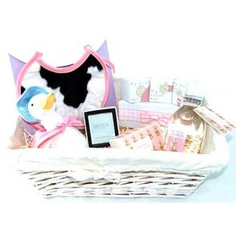baby girl gift hamper, Jemima Puddle Duck plush toy, glass photo frame, wicker basket, new arrival gift hamper