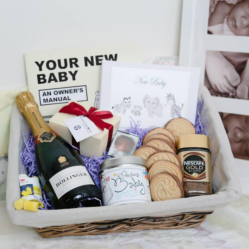 new parents hamper, new parents gift set, wicker basket filled with homemade treats