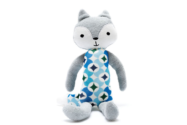 Organic cotton fox plush toy in shades of blue
