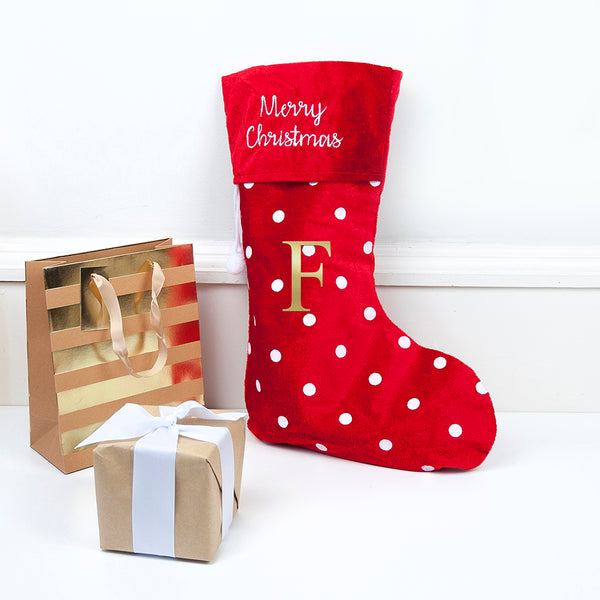 red Christmas stocking with presents