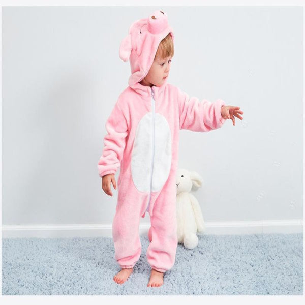 baby girl hooded romper, pink pig design hooded romper