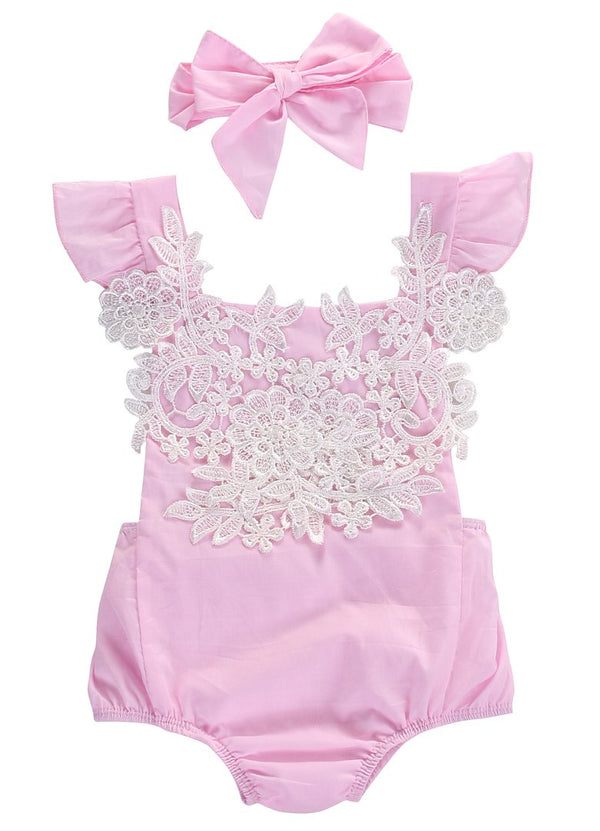 lace floral romper with bow headband, pink baby girl romper